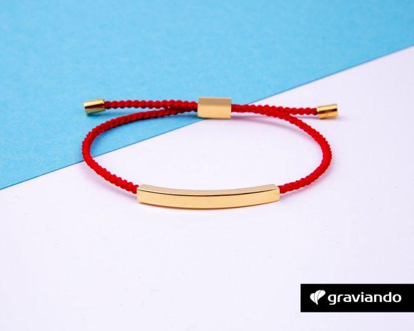 Gravur Armband Kordel Rot -