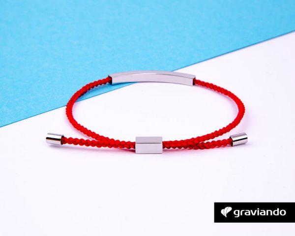 Gravur Armband Kordel Rot -10