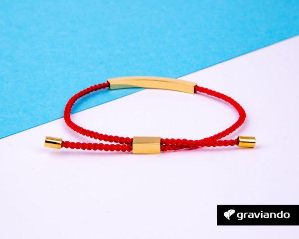 Gravur Armband Kordel Rot -2
