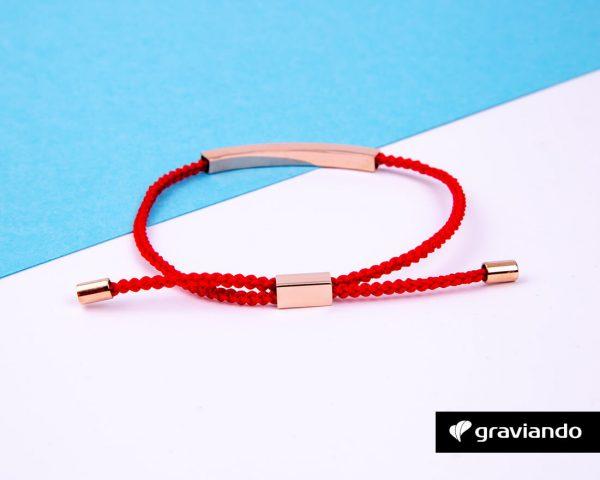 Gravur Armband Kordel Rot -6