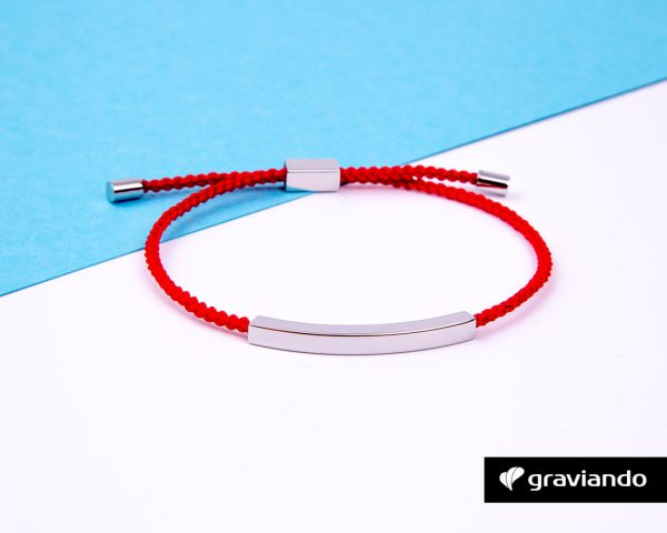 Gravur Armband Kordel Rot -9