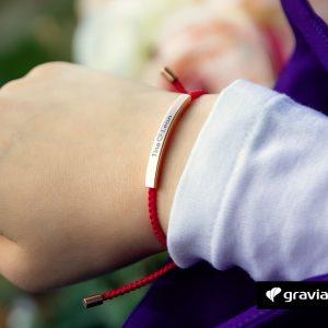 Gravur Armband Kordel Rot - Silber