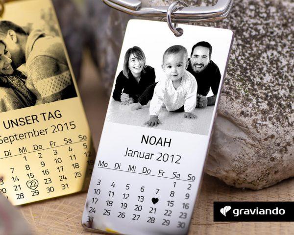 Kalender Schlüsselanhänger mit Foto Graviando