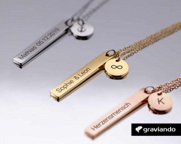 Namenskette mit Anhänger Graviando