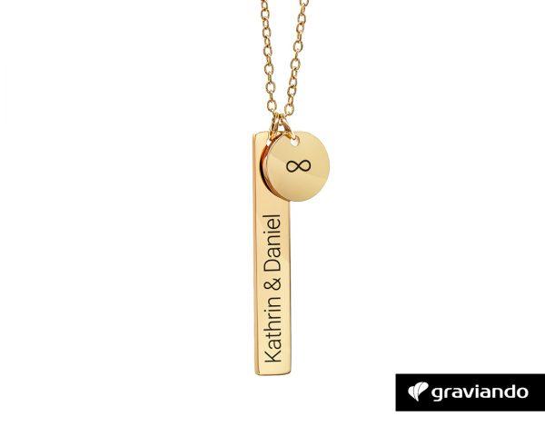 Namenskette mit Anhänger Gold Graviando