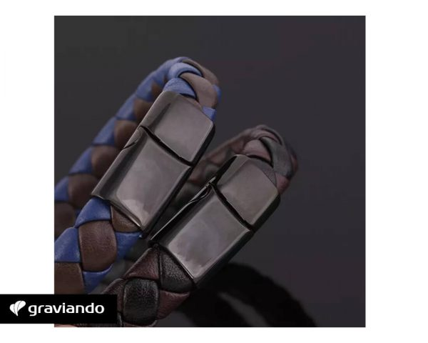 Flechtmuster Lederarmband Graviando
