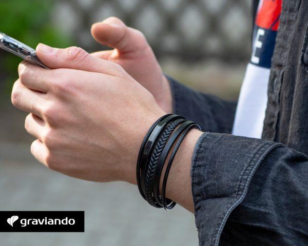 Lederarmband mit Gravur Herren Graviando