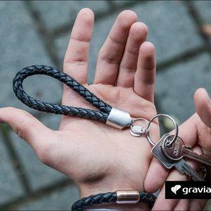 Schlüsselanhänger mit Gravur - Leder geflochten
