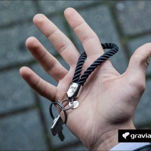 Schlüsselanhänger mit Gravur - segeltau gedreht Glanz Graviando