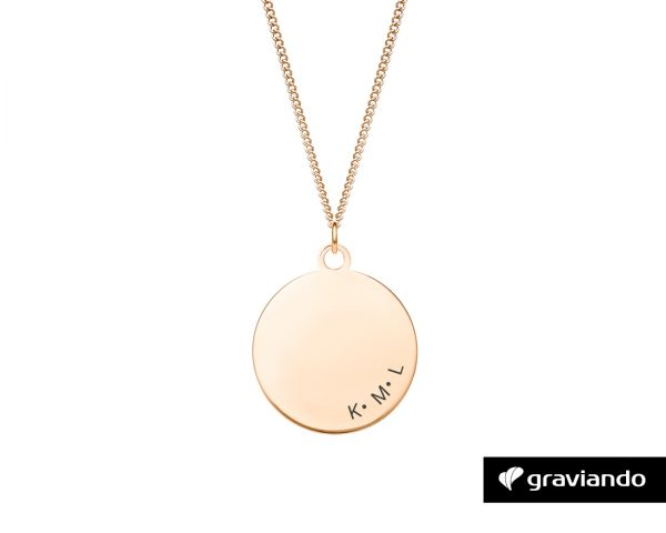 Halskette Kreis mit Gravur Rose Gold Graviando