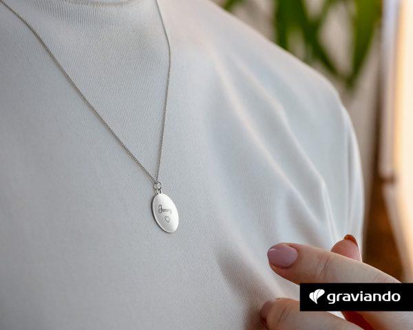 Halskette-Kreis mit Gravur Silber Graviando