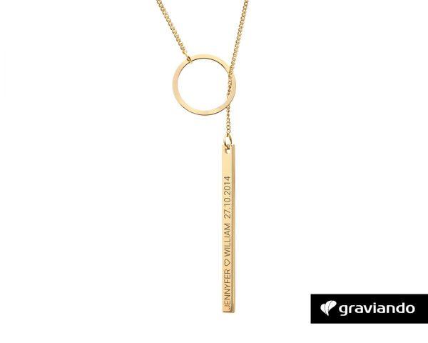 Halskette mit Ring Gold Graviando