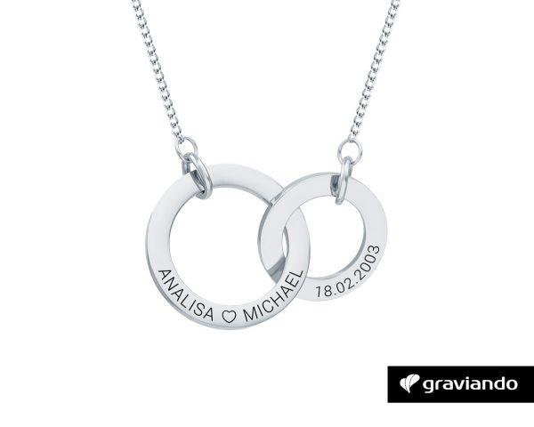 Halskette mit zwei Ringen Silber