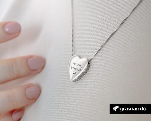 Herzkette mit Gravur Silber Gravur