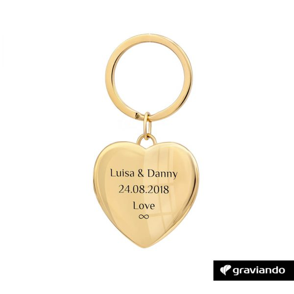 Herz Schlüsselanhänger mit Gravur Gold