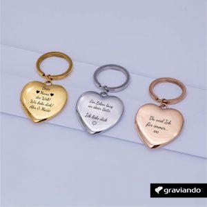 Herz Schlüsselanhänger mit Gravur Graviando