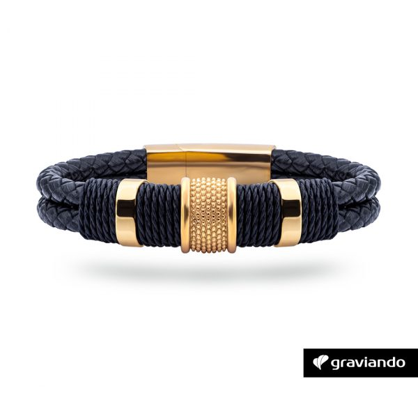 Armband mit Gravur Doppellederband Edel Gold