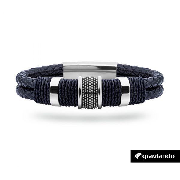 Armband mit Gravur Doppellederband Edel Silber