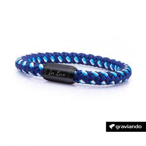 Armband mit Gravur Segelseil Blau-Muster 1