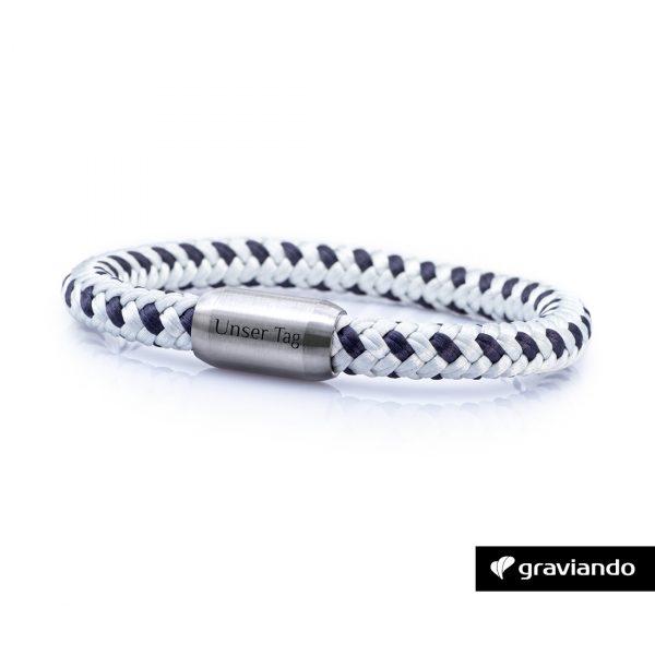 Armband mit Gravur Segelseil Weiß-Dunkelblau 1