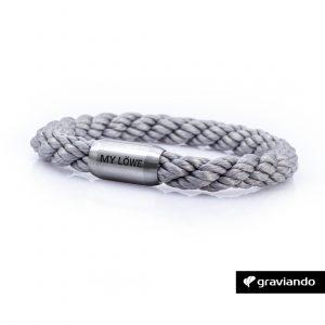 Armband mit Gravur Segelseil gedreht grau