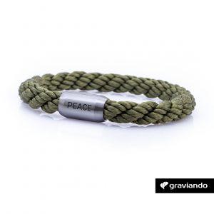Armband mit Gravur Segelseil gedreht grün