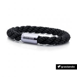 Armband mit Gravur Segelseil gedreht schwarz glossy