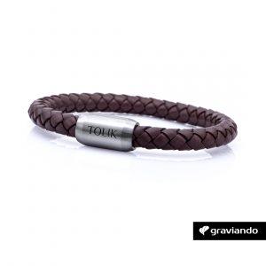 Armband mit Gravur braun Leder