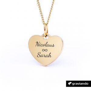 Damen Herzkette mit Gravur – Gold