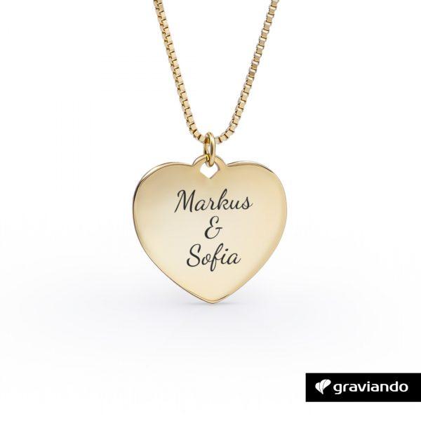 Herzkette mit Gravur Silber 925 Gold