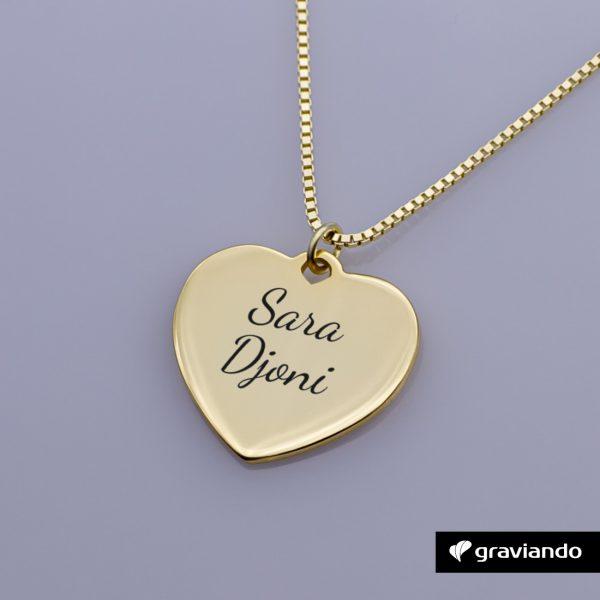 Herzkette mit Gravur Silber 925 Graviando