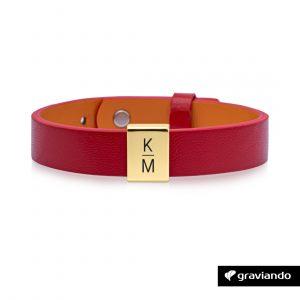 Personalisiertes Armband Damen Rot - Gold