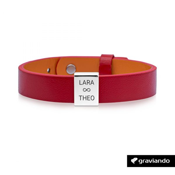 Personalisiertes Armband Damen Rot -Silber